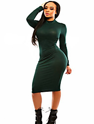 Women's Casual/Daily Sexy Bodycon Dress,Solid Turtleneck Knee-length Long Sleeve Green Polyester All Seasons
