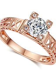 T&C Women's Unique Eiffel Tower Design Rose Gold Plated Romantic Zirconia Diamond Finger Rings