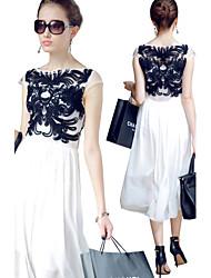 Morefeel Women's Sexy Round Short Sleeve Dresses (Chiffon)