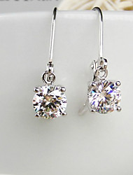 Stunning Sterling Silver Dangle Earrings for Women 1CT/Piece SONA Simulate Diamond Earrings Engagement Platinum Plated