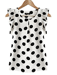 Women's White Polka Dots Round Neck Ruffle Blouse, Chiffon Short Sleeve