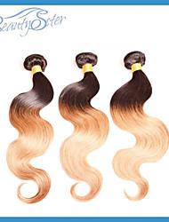 """blandat 3pieces mycket brasiliansk ombre hår människohår väver color1b / 30 14 """"~ 26"""" klass 6a två ton människohår väft"""