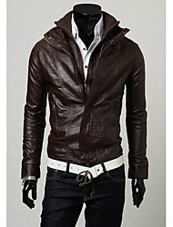 Loby  Men's Stand Coats & Jackets , PU Long Sleeve Casual