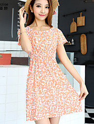 Women's Floral Pink/Multi-color Dress , Beach/Print Round Neck Short Sleeve Flower