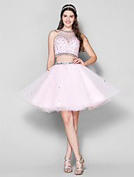Prom Cocktail Party Dress - Two Pieces Ball Gown Jewel Short / Mini Tulle with Beading / Crystal Detailing
