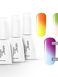azuurblauwe 3 stuks / veel losweken nagel gel temperatuur van kleur veranderen uv gel nagellak kit (12 ml, # 01 + # 02 + # 03)