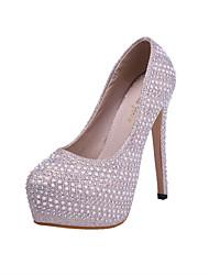 Women's Shoes Glitter Stiletto Heel Heels/Closed Toe Pumps/Heels Wedding/Dress/Casual White/Gold