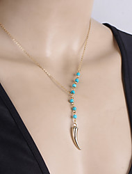 Women's Fashion Handmade Beaded Turquoise Metal Peppers Pendant Short Necklace