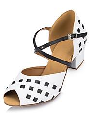 Non Customizable Women's Dance Shoes Latin Flocking Low Heel White
