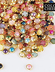 100PCS Colorful Pearl Metal Lipping Nail Art Decorations