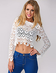 Women's Long-sleeve Lace Crop Top