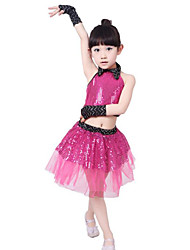 Jazz Performance Outfits Children's Performance Polyester Sequins Outfit Blue/Fuchsia/White Kids Dance Costumes