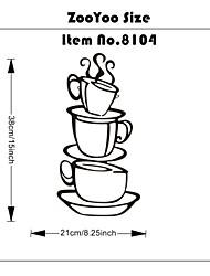 prendre une tasse de café Stickers muraux décorations pour la maison zooyoo8104 salle de cuisine mur amovible en vinyle art bricolage