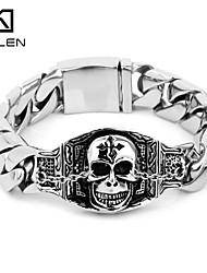 Kalen Men's Jewelry Newest Jewelry Design Stainless Steel Casting Charm Bracelet with Skull