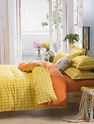 Mingjie City Style Yellow Plaid Sanding Bedding Sets 4pcs Duvet Cover Sets Bed Linen China Queen Size and Full Size