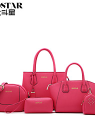 Handcee® Cheap Woman PU Simple Leather Bag with 4pcs Small Bags