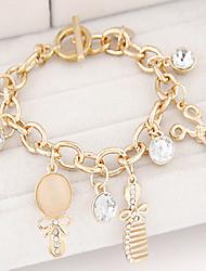 Women's Fashion Trend Scissors Mirror Comb Alloy Charm With Rhinestone Bracelet