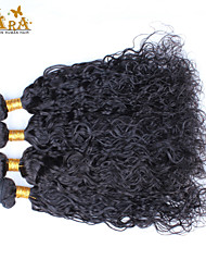 "4Pcs Lot 10-26"" Unprocessed Raw Indian Virgin Human Hair Weave Water Wave Color Natural Black Hair Bundles"