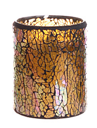 Simplux™ 3*4 Inch Lightyellow Crack Pattern Mosaic Glass with Flameless Led Candle with Timer,Work with 2 AA Battery