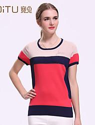 Women's Striped/Patchwork/Color Block Red/Beige T-shirt , Round Neck Short Sleeve Tassel/Layered