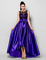 A-Line Bateau Neck Asymmetrical Stretch Satin Formal Evening Dress with Beading Bow(s) Lace Sash / Ribbon by TS Couture®