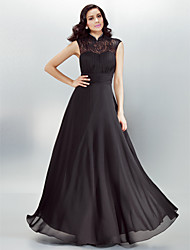 TS Couture® Formal Evening Dress Plus Size / Petite A-line High Neck Floor-length Chiffon with Draping / Lace / Pearl Detailing / Ruching