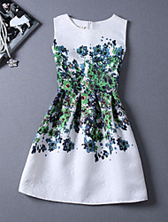 YUYU Women's Round Dresses , Cotton Blend Vintage/Bodycon/Beach/Casual/Print/Cute/Party/Work Sleeveless