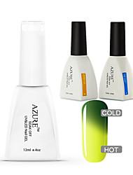 Azure 3 Pcs/Lot Soak Off Color Changing LED UV Nail Gel Polish Color Gel Manicure Nail Art Gel(#06+BASE+TOP)