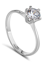 T&C Women's Classic 18k White Gold Plated 6 Prong Sparkling Solitaire 1ct Cz Diamond Wedding Ring