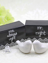 Classic Black & White Groom and Bride Salt and Pepper Shaker Favor