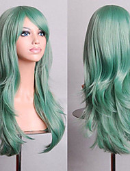 Cosplay Europe And The United States Sell 70CM High Temperature Mint Green Silk Natural Curly Wig