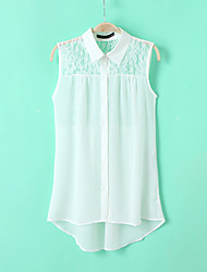 Chemises informelles ( Mousseline ) Informel Col chemise à Sans manche pour Femme