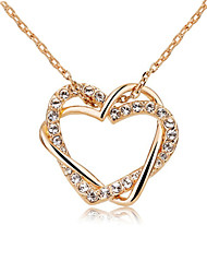 T&C Women's Classic Love Heart Designer CZ Diamond Pendant Necklace 18K Rose Gold Plated Wedding Jewelry