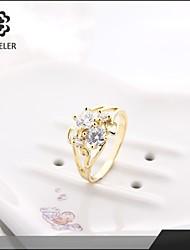 Bagues Affirmées Zircon Platiné Imitation de diamant 24K Plated Gold Mode Or Argent Bijoux Mariage Soirée 1pc