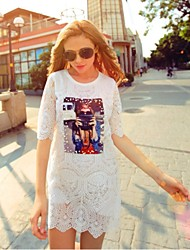 Vestidos ( Tela de Encaje )- Casual Redondo ½ Longitud de manga para Mujer