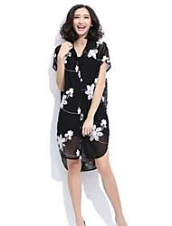 Women's Casual Shirt Collar/Tailored Collar Long Sleeve Tops & Blouses (Chiffon)