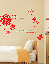 Wall Stickers Wall Decals Style The Butterfly Rose PVC Wall Stickers