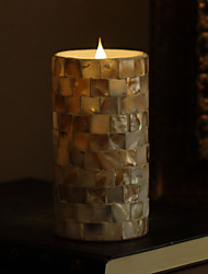 SIMPLUX™ 3*6 Inch Moving Wick Round Wood Mosaic Glass with Flameless LED Candle with Timer,Work With 2xC Batteries