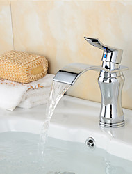 Contemporary Waterfall Brass Chrome Bathroom Sink Faucet - Silver