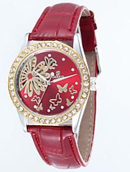 relógio pulseira de couro mostrador redondo relógio de pulso automático de auto-liquidação das mulheres (cores sortidas)