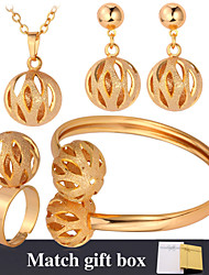 Fancy New Hollow Ball Pendant Earrings Bracelet Rings Set 18K Gold Platinum Plated Jewelry for Women High Quality