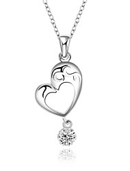 Cremation Jewelry 925 sterling silver Heart with Zircon Pendant Necklace for Women (