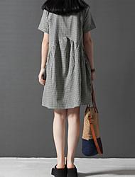 Robe Aux femmes Grandes Tailles Grandes Tailles / Décontracté / Mignon , Damier Mao Au dessus du genou Coton / Lin