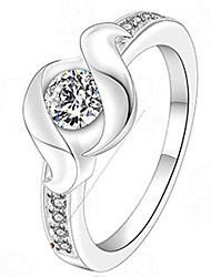 Meles Women's Korean-style High Quality Silver-plated Inlaid Zircon Ring