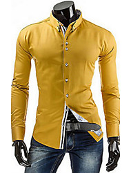 Men's Solid Casual Shirt,Others Long Sleeve Blue / White / Yellow