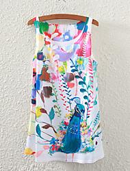 Women's Sleeveless Peacock Graphic Printed Vest