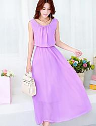Women's Casual Maxi Plus Sizes Inelastic Sleeveless Maxi Dress (Chiffon)