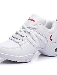 Women's Dance Shoes Leatherette / Fabric Leatherette / Fabric Dance Sneakers Split Sole Chunky Heel PerformanceBlack /