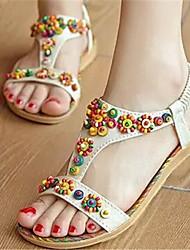 Women's Shoes Flat Heel Open Toe Sandals Dress Yellow/Beige