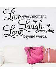 vivre chaque moment de rire et l'amour devis décalque de mur zooyoo8023 sticker décoratif amovible mur de vinyle
